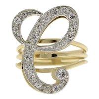 "1.00 CTW Diamond Fancy Letter ""C"" Statement Ring 14K Two-Tone Gold Size 8 Estate"