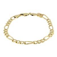 "14K Yellow Gold Figaro Chain Bracelet 8.25"" 6 mm Wide Estate Unisex"