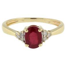 Vintage Red Topaz Diamond Cocktail Ring 14K Y/Gold 1.08 CTW 7 x 5 Oval Gem SZ 6