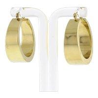 "Estate Large Wide Round Hoop Earrings 14K Yellow Gold 1.25"""
