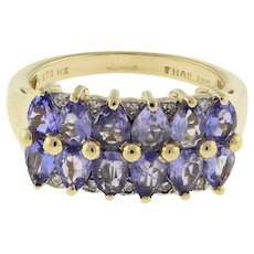 Vintage Diamond Two-Row Ring Purple Glass Accents 14K Yellow Gold Ladies Size 6
