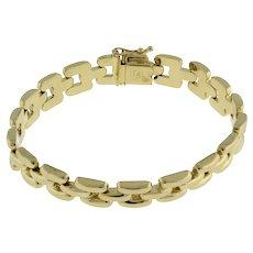 "Estate Panther Chain Bracelet 14K Italian Yellow Gold Box Clasp 7"" Ladies"