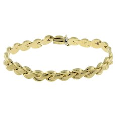"Estate Fancy Link Ladies Bracelet 14K Yellow Gold Brushed Polish Finish 7"""