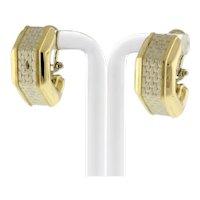 """Estate Hoop Earrings 14K Italian 2-Tone Gold Geometric Brick Motif Omega 0.75"""""""