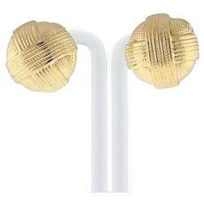 "Estate Textured 14K Yellow Gold Omega Back Earrings Ladies ""X"" Motif 22.5 mm"