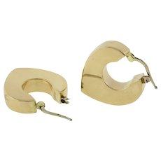 """Estate Heart Huggie Hoop Earrings 14K Italian Yellow Gold 1"""" Drop Ladies"""