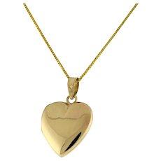 "Vintage 14K Yellow Gold Heart Locket Pendant Charm 0.75"" Estate Ladies Girls"
