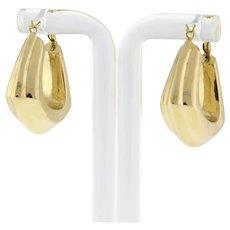 """Estate Geometric Ridged Hoop Earrings 14K Yellow Gold 1"""" Ladies"""
