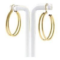 "Double Strand Round Hoop Earrings 14K Yellow Gold 1.25"" Drop 5.25 mm Wide Unisex"