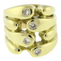 Estate Diamond 4-Row Wide Band Ring 14K Yellow Gold 0.20 CTW Rounds SZ 4.25