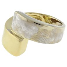 Estate Contemporary Two-Tone 14K Gold Bypass Ring High Polished Gold Size 6.25