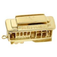 "Vintage Cable Car Charm Pendant 14K Yellow Gold ""San Francisco Powell Mason"" 1"""
