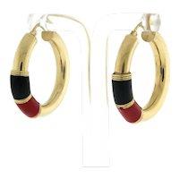 """Enamel Hoop Earrings 14K Yellow Gold 1.25"""" Drop 5 mm Wide Vintage Black Red Snap"""