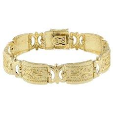 "Estate 14K Yellow Gold Fancy Link Bracelet 7.25"" Ladies Vintage"