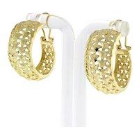 """Estate Filigree Wide Hoop Earrings 14K Yellow Gold Omega Backs Pierced 1"""" Drop"""
