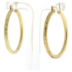 """1.5"""" Round Hoop Earrings 14K Yellow Gold Etched Design 3 mm Wide Snap Closure"""