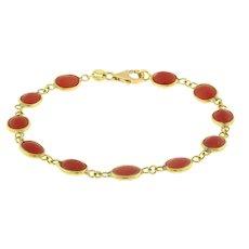 "Coral Chain Bracelet 18K Yellow Gold 5 x 7 mm Oval Gems Bezel Set Vintage 7"""