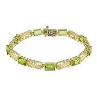 """Vintage Emerald Cut Peridot Gemstone Fancy Link Bracelet 14K Yellow Gold 7"""""""