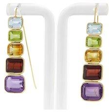 Vintage Multi-Gemstone Drop Dangle Graduating Earrings Emerald Cut Gems 14K Gold