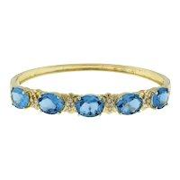 "Swiss Blue Topaz Gemstone Diamond Bangle Bracelet 14K Yellow Gold Vintage 6.5"""