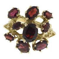 Garnet Gemstone Floral Statement Ring 14K Yellow Gold Vintage Estate Size 6.5