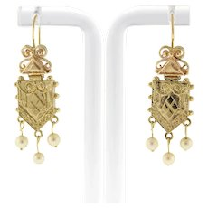 """Vintage 14K Yellow Gold Freshwater Pearl Dangle Earrings Ladies 1.75"""" Drop"""