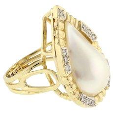 Estate Mabe Pearl Diamond Accent Statement Ring 14K Yellow Gold SZ 6.5 Ladies