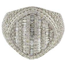 8.00 CTW Cluster Diamond Men's Ring Baguette Round Diamonds 14K W/ Gold SZ 12.5