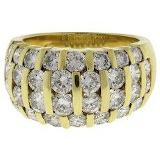 3.50 CTW Diamond 4-Row Dome Ring 18K Yellow Gold GH/VS-SI Estate Ladies SZ 5.25