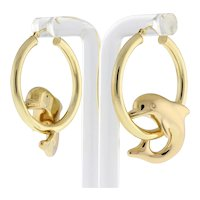 """Dolphin Accented Round Hoop Earrings 14K Yellow Gold 1.5"""" Drop 3 mm Wide Hinged"""