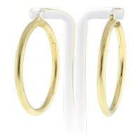 """Estate Round Hoop Earrings 14K Yellow Gold 2"""" Drop Large 4mm Wide Hinged Hoop"""