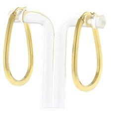 """Estate Oval Hoop Earrings 14K Yellow Gold 1.5"""" Drop 3 mm Wide Hinged Snap Ladies"""