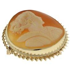 "Cameo Round 14K Yellow Gold Brooch Pin Pendant 1.25"" Diameter Vintage Estate"