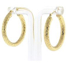 """Vintage Etched Hoop Earrings 10K Yellow Gold 1.25"""" Drop 4.25 mm Wide Hinged Snap"""