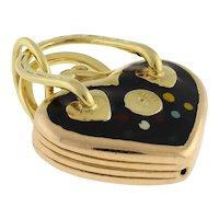 "Vintage Heart Purse Charm Pendant Italian 14K Yellow Gold Black Enamel 1"" Drop"