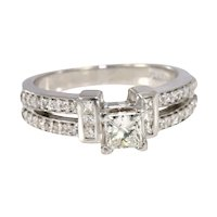 Estate 14K White Gold Diamond Engagement Ring With 0.86 CTW Diamonds I SI1