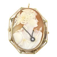 Vintage Large Cameo Brooch Pendant With Diamond Detail in 14K Yellow Gold Frame