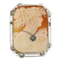 Vintage Diamond Ladies Cameo Brooch 14K White Gold Frame 0.07 CT Round Diamond