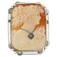 Vintage Diamond Ladies Cameo Brooch 14K White Gold Frame 0.07 CT Round Diamond