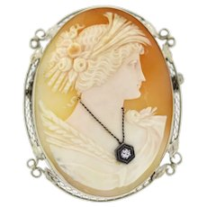 Vintage Cameo Brooch Pin Large 14K White Gold 0.10 TW Diamond Accent Ladies