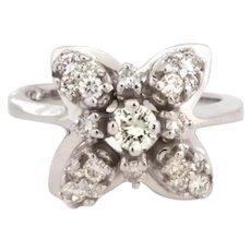 Estate 14K White Gold Floral Diamond Ladies Ring 0.50 TW Round Diamonds Size 4.5