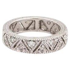 14K White Gold Filigree Diamond Ladies 5 mm Eternity Ring 0.85 CTW Diamonds 4.75