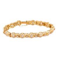 "Vintage Estate Diamond Ladies Bracelet 18K Yellow Gold 6.00 CTW Diamonds 7.5"""