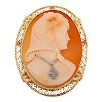 Vintage Carved Cameo Shell Diamond Brooch 14K Yellow Gold 0.03 CTW Diamond
