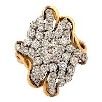 Vintage Diamond Estate Cascade Ring 14K Yellow Gold 4.22 CTW Ladies Size 7.25
