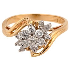 Estate 14K Yellow Gold Diamond Floral Cluster Ring 0.70 CTW Diamonds Size 7