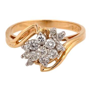Estate 14K Yellow Gold Diamond Floral Cluster Ring 0.70 CTW Diamonds Size 7