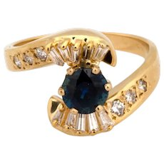 Estate 14K Yellow Gold Sapphire Diamond Cocktail Ring 1.50 CTW Ladies Size 7