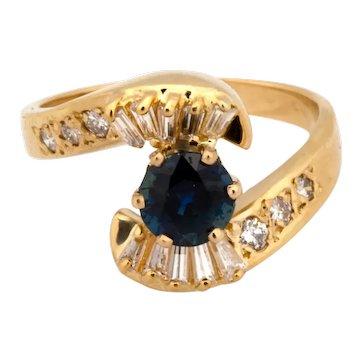 Estate 14K Yellow Gold Sapphire Diamond Cocktail Ring 1.50 CTW Ladies Size 7