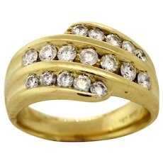 Estate 14K Yellow Gold Diamond Cocktail Ring Multi Row 1.25 TW Round Diamonds